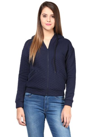 Women'S Hooded Jacket In Blue Diamond Pattern Knit/JKF450163