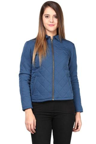 Quilted Women's Jacket In Navy Blue Color With Front Zipper/JKF450142