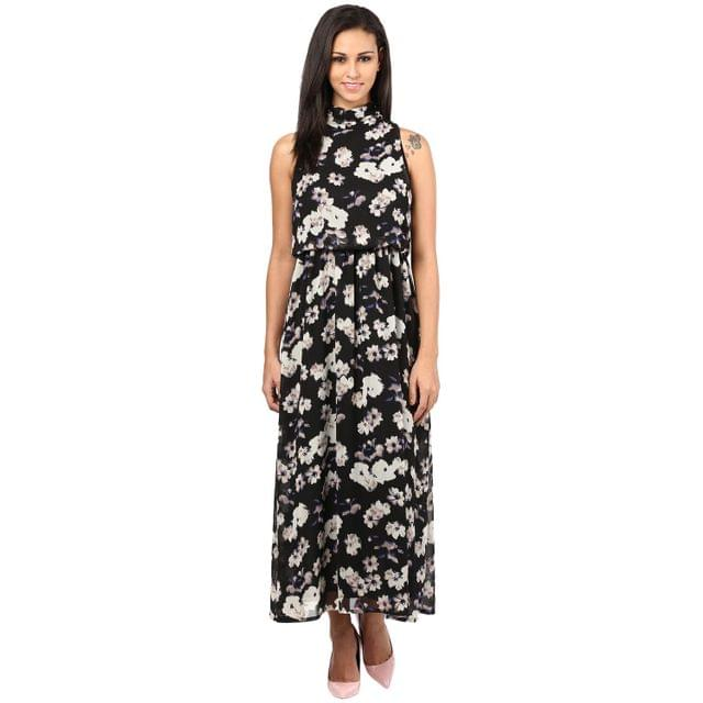 Maxi Dress In Black Printed Ggt Fabric With Gathers At Waist/DRF500288