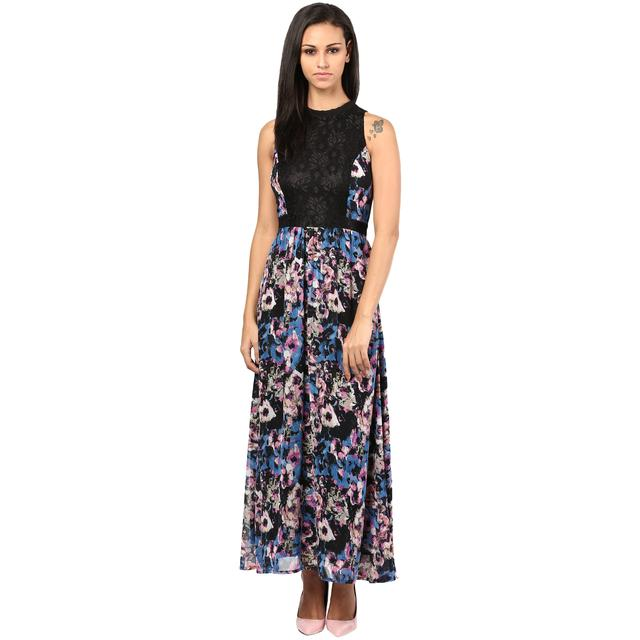 Maxi Dress In Multicolor Ggt Fabric With Lace At Body Part/DRF500289