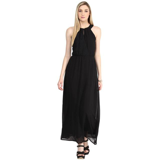 Maxi Dress In Black Color With Lace At Half Body Front And Full Body Part Back/DRF500304