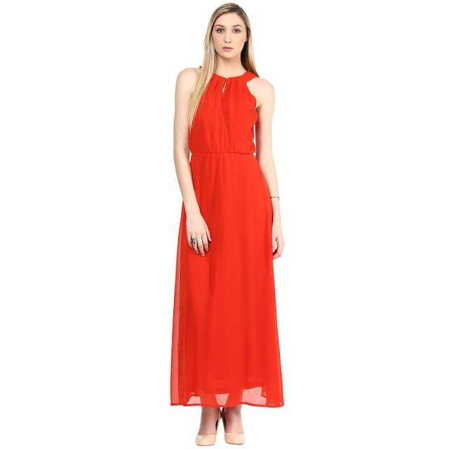 Maxi Dress In Orange Color With Lace At Half Body Front And Full Body Part Back/DRF500306