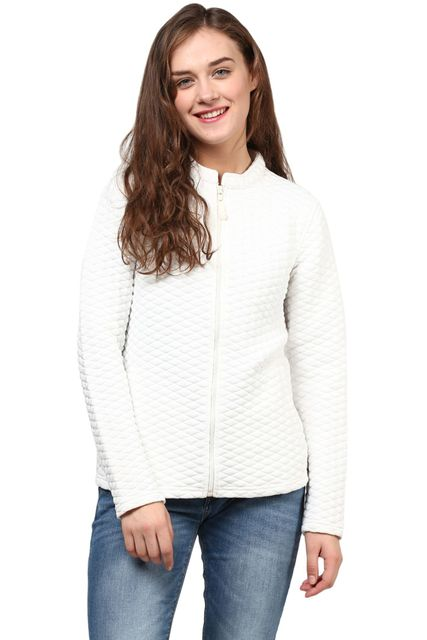 Women'S Jacket In White Diamond Pattern Knit/JKF450156