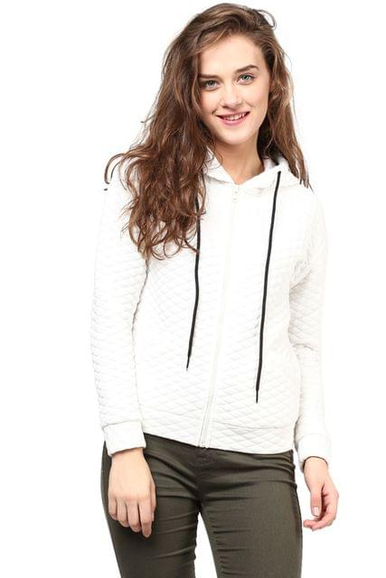 Women'S Hooded Jacket In White Diamond Pattern Knit/JKF450164