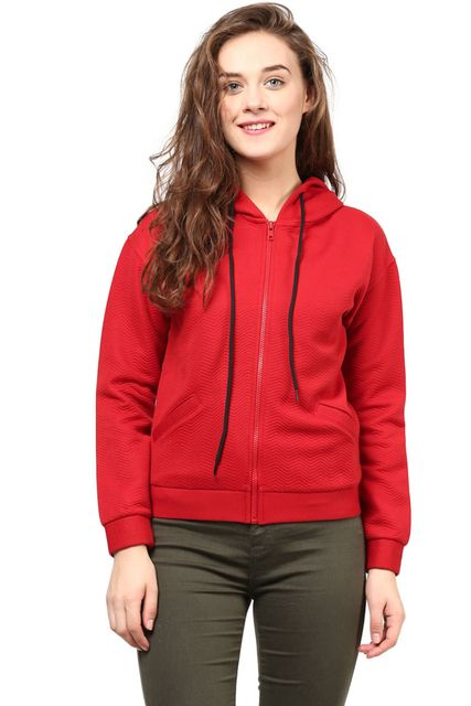 Hooded Women'S Jacket In Red Zig Zag Pattern/JKF450166