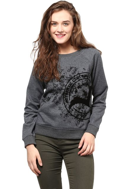 Round Neck Sweatshirt In Grey Color With Distressed Khadi Print/SSF460095