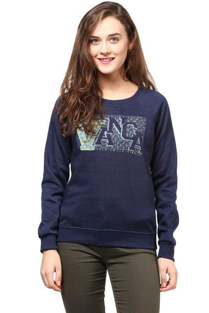Round Neck Sweatshirt In Navy Blue Color With V Printed Patch/SSF460130