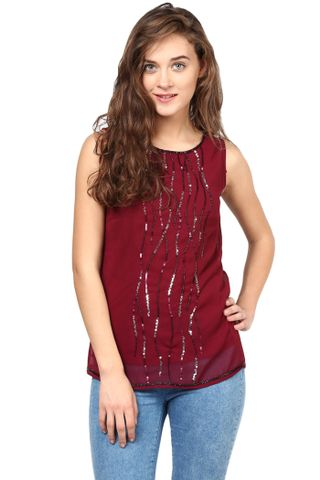 Marsala Top With Emblishment At Yoke/TSF400260
