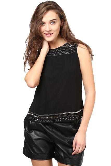 Black Top With Emblishment At Shoulder And Bottom/TSF400262