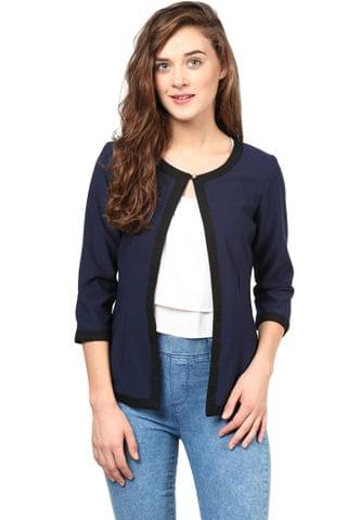Formal Jacket In Blue Knit Fabric With Black Edging/JKF450171