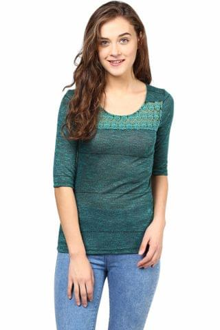 Casual Top In Green Color With Lace At Front And Back Yoke/TSF400493