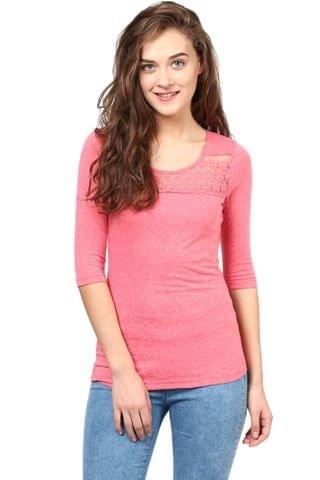Casual Top In Pink Color With Lace At Front And Back Yoke/TSF400494