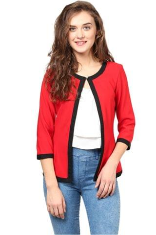Formal Jacket In Red Knit Fabric With Black Edging/JKF450170