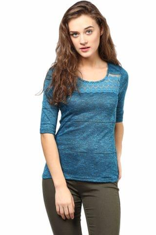 Casual Top In Teal Color With Lace At Front And Back Yoke/TSF400491