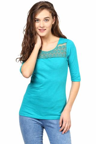 Casual Top In Green Color With Lace At Front And Back Yoke/TSF400496