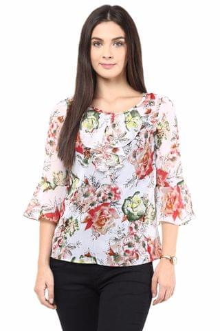 Causal Top In Multi Color With Cascade Around The Placket/TSF400431