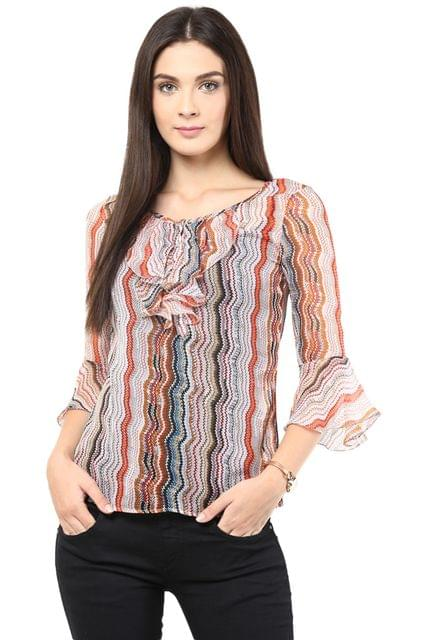 Causal Top In Orange Color With Cascade Around The Placket/TSF400429