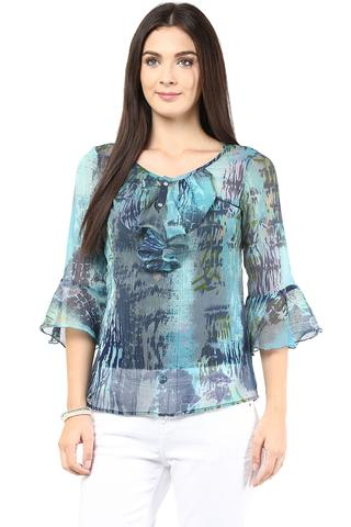 Causal Top In Blue Color With Cascade Around The Placket/TSF400430