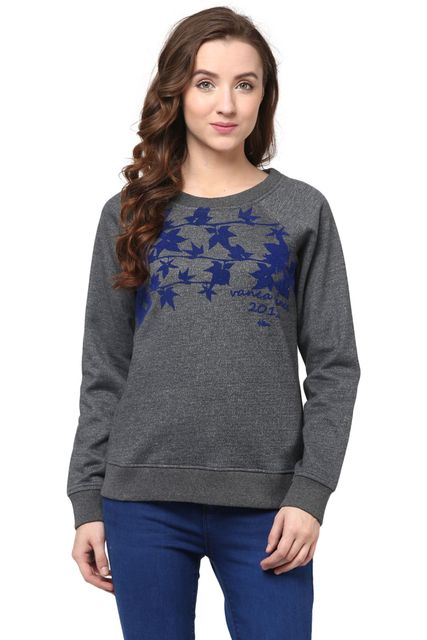Round Neck Sweatshirt In Grey Color With Flock Print/SSF460094