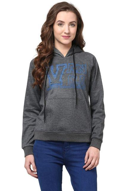Hooded Sweatshirt In Grey Color With V Patch/SSF460089