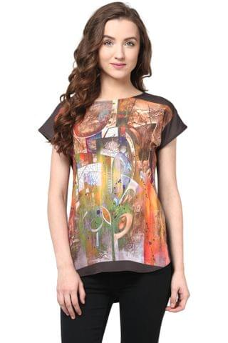 Digital Print Tee In Multi Color/TSF400529