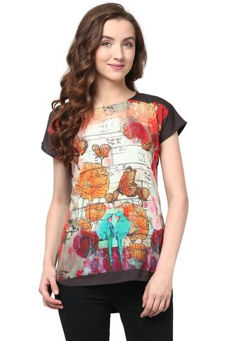 Digital Print Tee In Multi Color/TSF400546