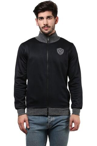 Sweatshirt In Black Color With Front Zipper And Slant Pockets/SSM460114