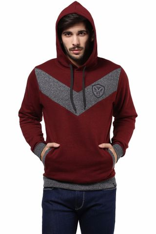 Hooded Sweatshirt In Maroon Color With Chevron Cut In The Front/SSM460121