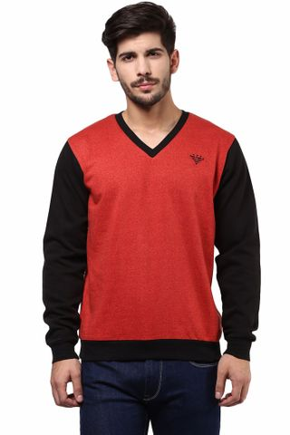 V Neck Sweatshirt In Red Color With Black Sleeves/SSM460123