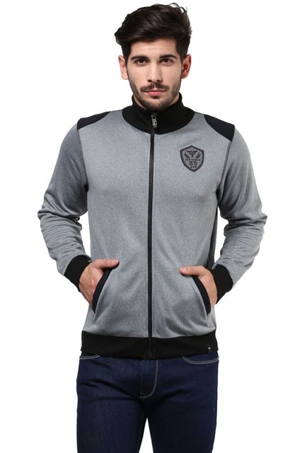 Sweatshirt In Grey Color With Front Zipper And Slant Pockets/SSM460115