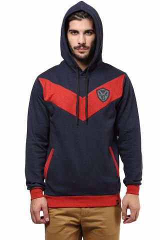 Hooded Sweatshirt In Blue Color With Chevron Cut In The Front/SSM460120