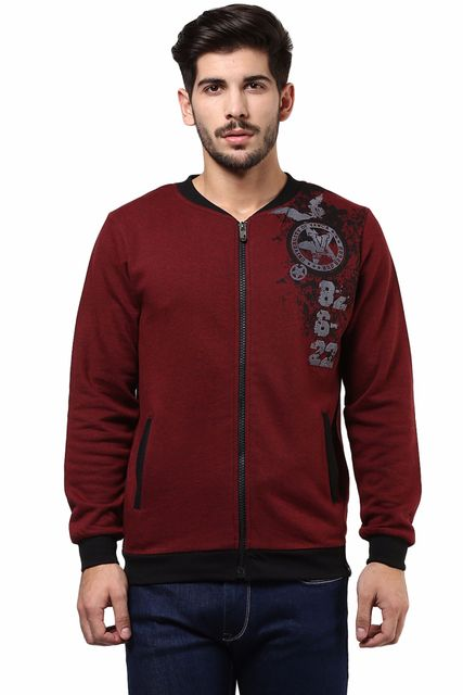 Front Zipper Sweatshirt In Maroon Color With Distressed Print At Left Side/SSM460127