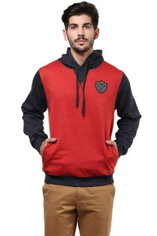 Hooded Sweatshirt In Red Color With Blue Sleeves And Hood/SSM460117