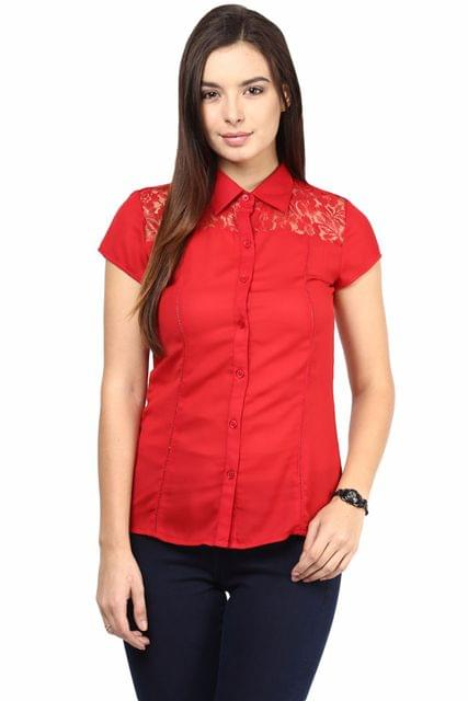 Formal Shirt In Red Color With Scalloped Lace At Front Yoke/TSF400504