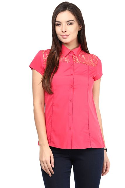 Formal Shirt In Fuchsia Color With Scalloped Lace At Front Yoke/TSF400501