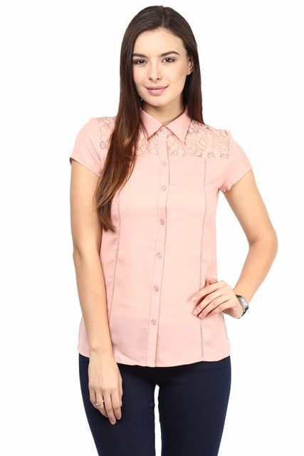 Formal Shirt In Peach Color With Scalloped Lace At Front Yoke/TSF400499