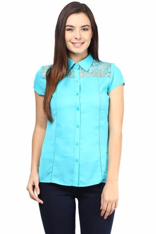 Formal Shirt In Teal Color With Scalloped Lace At Front Yoke/TSF400502