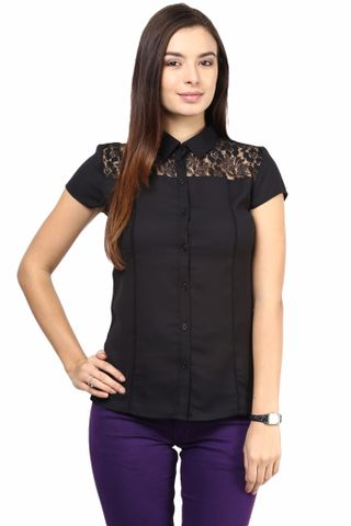 Formal Shirt In Black Color With Scalloped Lace At Front Yoke/TSF400497