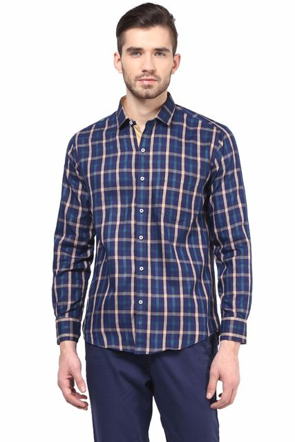 Premium  100% Cotton Check Shirt Blue Color/SRM820139