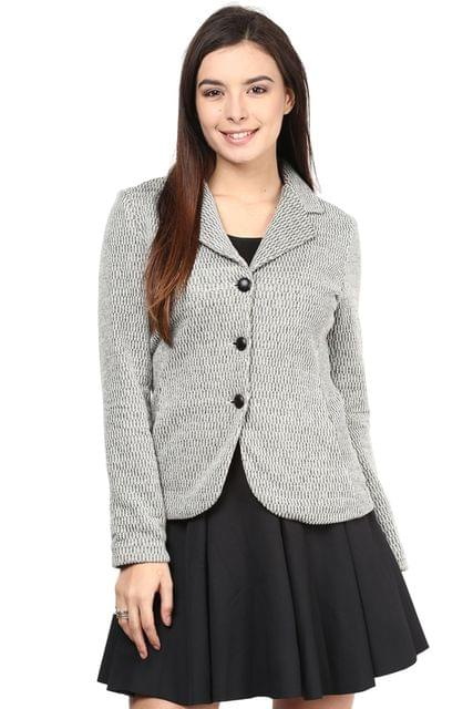 Knit Jacket In Off White Color With Lapel Collar/JKF450150