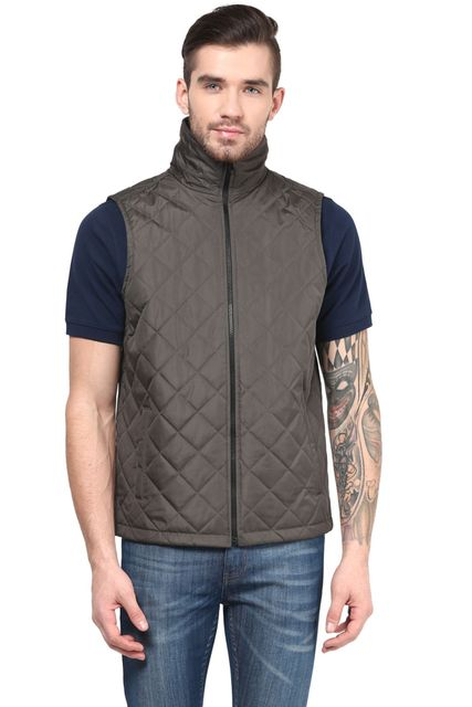 Men'S Polyamide Quilted Jacket In Green Color/JKM450176