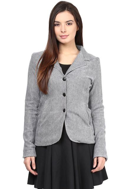 Knit Jacket In Blue Color With Lapel Collar/JKF450149