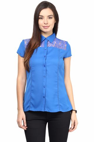 Formal Shirt In Blue Color With Scalloped Lace At Front Yoke/TSF400498