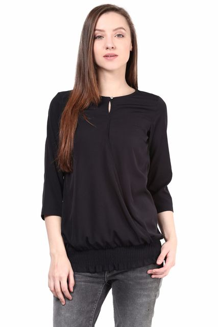 Black Color Casual 3/4 Wrap Top/TSF400393