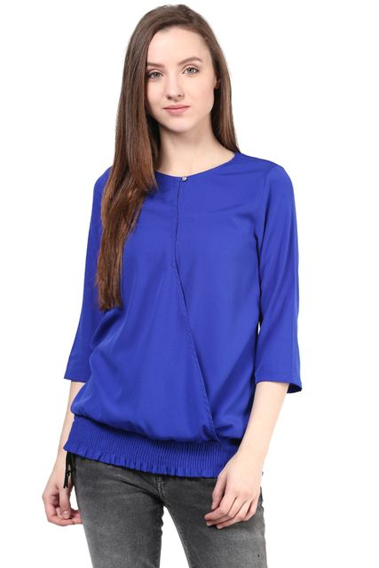 Blue Color Casual 3/4 Top/TSF400342