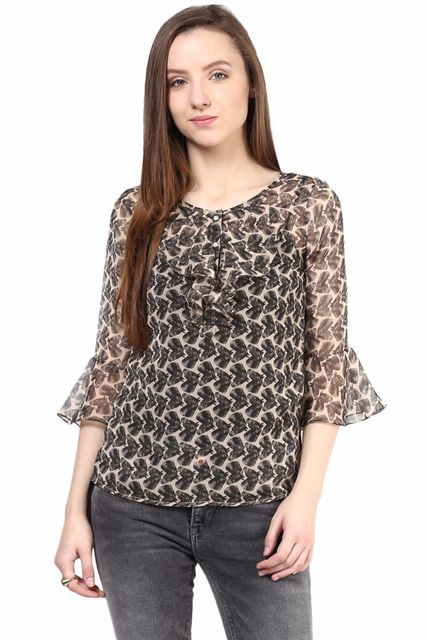 Black  Casual Top In Printed Fabric/TSF400310