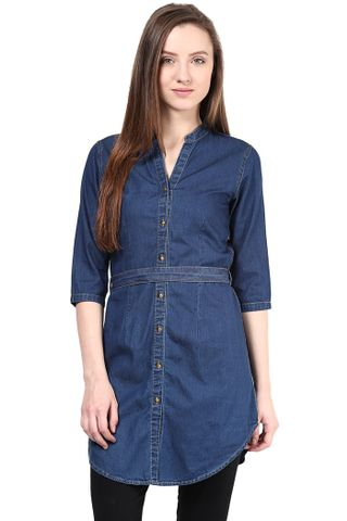 Blue Shirt-Dress In Denim/TSF400279