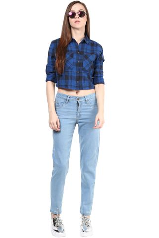 Blue Full Length Trouser In Denim/TRF350128