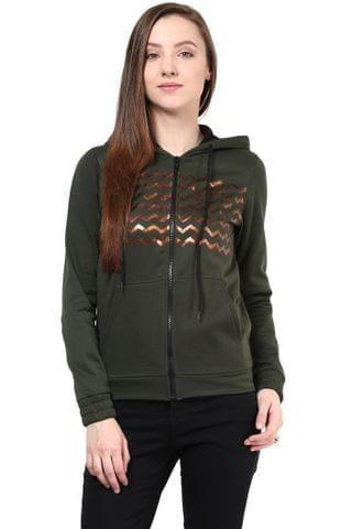 Hooded Sweatshirt In Green Color With Distressed Print/SSF460132
