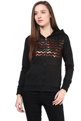 Hooded Sweatshirt In Black Color With Distressed Print/SSF460131